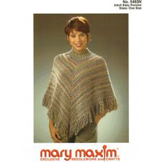 Mary Maxim - Adult Easy Poncho Pattern - Free Patterns - Patterns & Books