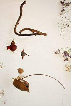Doll mobile,  Waldorf inspired home decor, Natural  colors   - The Fisherman, FREE SHIPPING