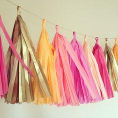 Summer Sorbet ... tissue paper tassel garland // by PomLove, $30.00