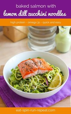 This easy to make salmon recipe is perfect for spring and summer meals. Use a spiralizer to make the zucchini noodles, and if you don't have one, a julienne peeler also does the trick!