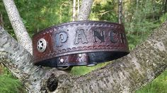 The Pancho - Personalized Texas Star Camo Diamond Cut Leather Dog Collar