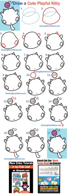 How to Draw a Cute Kawaii Fat Kitty Cat Playing with Yarn on Back Easy Steps Tutorial - How to Draw Step by Step Drawing Tutorials Cat Drawing Tutorial, Drawing Tutorials For Kids, Drawing For Kids, Teach Kids To Draw, Learn To Draw, Fat Kitty, Fat Cats, Small Drawings, Animal Drawings