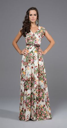 Gorgeous floral print belted maxi dress