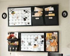 wall calendar for kitchen. keys, pencils, slots for everyone