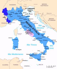Unification of italy map italy nationalism and unification cartina geo politica dellitalia nel 1861 i territori di nizza e savoia vennero ceduti alla francia dopo la seconda guerra dindipendenza veneto e friuli gumiabroncs Images
