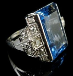 ART DECO RING - FRENCH 22CT EMERALD CUT BLUE SPINEL & DIAMOND WHITE GOLD RING