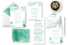 Teal Watercolor Floral Calligraphy Invitation Suite by Shelby Made It Brush Lettered Invitation / Printable Wedding Invitation / Hand Lettered Invitation / Save the Date / Menu / Thank you card