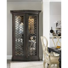 Hooker Furniture Vetrano 2-Door Display Cabinet ($4,599) ❤ liked on Polyvore featuring home, furniture, storage & shelves, display units, distressed ebony, handmade furniture, drawer furniture, black furniture, hand made furniture and door furniture