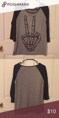 Halloween skeleton t-shirt Cute peace sign skeleton t- shirt, never worn target/lol vintage Tops Tees - Long Sleeve