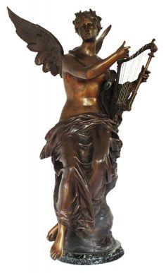 """Max Bourgeois - """"Harpista"""", excepcional escultura em bronze patinado c/ base em mármore.  Mais oportunidades neste Sábado, 18/04/15.   Leilão Online às 14h.   Participe ao vivo e Repasse aos amigos!"""