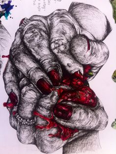 Crushed Strawberries, using fine liner and ink