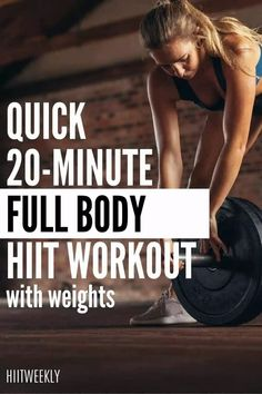 Get your sweat on with the quick 20 minute HIIT workout with weights that will scult and tone your entire body! 20 Minute Hiit Workout, Full Body Hiit Workout, Hiit Workout At Home, At Home Workouts, Hiit Workouts With Weights, Weights Workout For Women, Hiit Workouts For Beginners, Hiit At Home, Workout Results