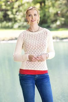 Free knitting pattern - Fleurette Lace Pullover in Universal Yarn Cotton Supreme DK.