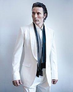 Mads Mikkelsen..white suit, slick hair, total fox.