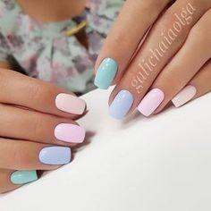 Chic Nail Art, Trendy Nail Art, Chic Nails, Stylish Nails, Fun Nails, Nagellack Design, Nagellack Trends, Multicolored Nails, Colorful Nails