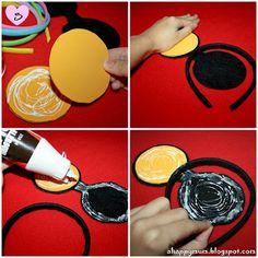 Tutorial para hacer diademas con orejas de Minnie y Mickey.