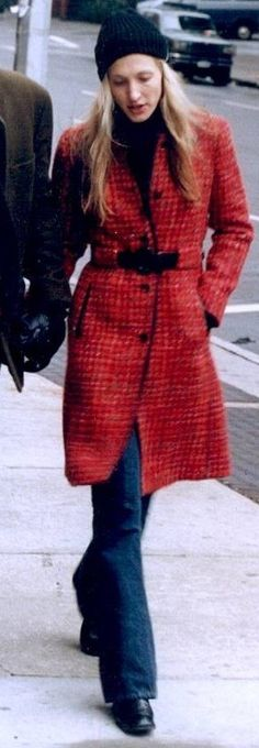 carolyn bessette kennedy - signature red prada coat