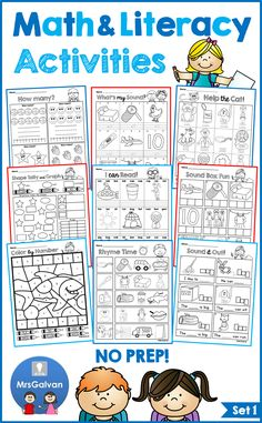 5 FREE pages in PREVIEW! Be ready for school with these NO PREP activities! The Math and Literacy NO PREP Activities are a FUN approach to practicing Rhyming, Initial Sounds, Short Vowels, CVC Words, Onset / Rime, Word Reading, Shapes, Counting, Writing Numbers, Addition with visual support, Skip Counting, Graphing, and much more! Over 70 pages in black and white! Just PRINT and GO!