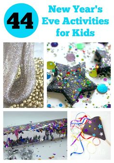 The Ultimate Guide to New Years Eve Activities for Kids. Includes ideas for Kids Party Games, New Year Sensory Play, Kids Countdown Ideas, Party Props, New Year Decor, New Year's Eve Party Food and Kids New Year Resolutions.