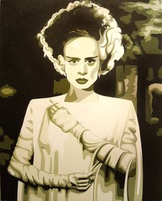 elsa lanchester #1, acrylic on canvas SOLD. This one sold based off the sketch. This, actually, and one of Marlene Dietrich that i don't have a photo of, sadly, to the same collector. i have a print of this in my kitchen. still looking for a throw-switch. nie dotykac! uradzenie elektryczne!