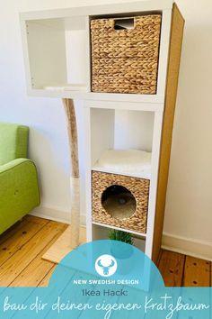 Mit diesen 4 genialen Kratzbaum Ikea Hacks erfüllst du mit Klassikern wie dem Ikea Kallax, Lack, Ivar und Frosta deiner Katze jeden Wunsch und kannst dabei noch völlig frei entscheiden, wie dein Do-It-Yourself-Projekt am Ende aussehen soll. #newswedishdesign #ikea #ikeahack #diy #ikeakallax #ivar #kratzbaum Cat Tree Plans, Cat House Diy, Diy Cat Tree, Cat Run, Cat Hacks, Cat Shelves, Cat Decor, Cat Wall, Cat Furniture