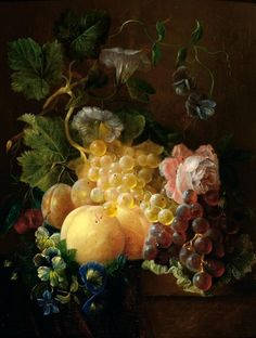 Adriana Johanna Haanen, 2 works: Still life with fruit and flowers on a plinth; Still life with a jay on a plinth