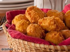 Hush Puppies - This southern side dish favorite only uses five easy ingredients, including cornmeal, onion, milk, eggs, and peanut oil.