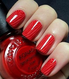 Red wood style nails Nail Art www.finditforweddings.com