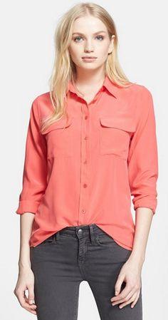 Slim Signature' Silk Shirt from Nordstrom. #teengirlfashion #springfashion