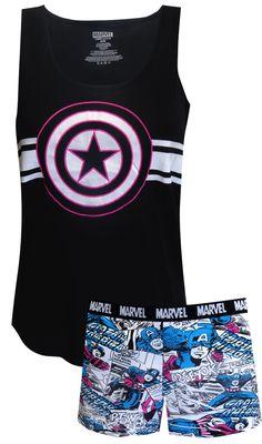 Marvel Comics Captain America Comics Shortie Pajama - Visit to grab an amazing super hero shirt now on sale! Marvel Fashion, Geek Fashion, Gothic Fashion, Super Hero Outfits, Cool Outfits, Iron Man, Cute Pjs, Captain America Comic, Marvel Clothes