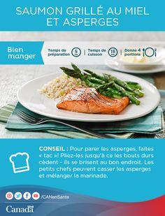 Essayez cette recette de saumon grillé au miel et asperges pour ajouter une touche estivale à table!  http://www.canadiensensante.gc.ca/eating-nutrition/healthy-eating-saine-alimentation/recipes-recettes/salmon-saumon-fra.php?utm_source=pinterest_hcdnsutm_medium=socialutm_content=July9_salmon_FRutm_campaign=social_media_14