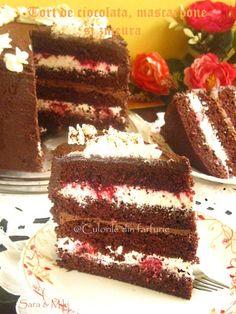 tort-de-ciocolata-mascarpone-si-zmeura-4 Romanian Desserts, Confort Food, Sweet Bread, Pie Recipes, Vanilla Cake, Bakery, Deserts, Goodies, Food And Drink