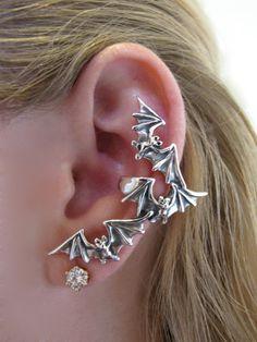 Silver Bat Flock Ear Cuff by martymagic on Etsy, $59.00