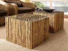 bamboo rustic glass top tables