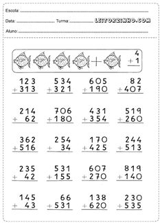 Atividades de adição 2nd Grade Math Worksheets, Multiplication Worksheets, Tracing Worksheets, Preschool Worksheets, Creative Teaching, Teaching Math, Math Sheets, School Info, Second Grade Math