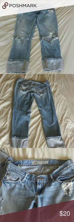 Hollister size 1 cuffed denim destructed capris Hollister size 1 cuffed destructed denim capris Hollister Jeans Ankle & Cropped