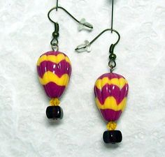 Hot Air Balloon Earrings  Handmade Polymer Clay by MyStudio91, $8.00