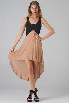 Mesh Cutout Colorblock Hi-Lo Dress