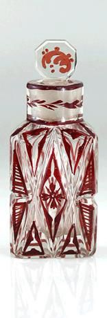 Victorian Dutch Ruby Enamel And Cut Crystal Scent Perfume Bottle - Dutch   c.1880