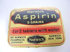 Vintage 1930's NORWICH Tablet - Pill - Medicine ASPIRIN Tin with Pills & Paper