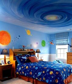 Cool Kids Bedrooms, Boys Bedroom Decor, Bedroom Themes, Dream Bedroom, Bedroom Ideas, Outer Space Nursery, Living Room Themes, Space Theme, House Design