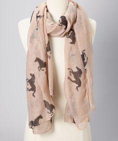 Western Style: Women's Accessories  -  Beige & Black Horse Sheer Scarf - Zulily