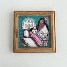 Vintage Cleo Teissedre Navajo Woman Tile or by SandHollowVintage