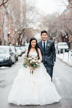 Whimsical Elegant Manhattan Wedding featuring a DB Bride in White by Vera Wang.