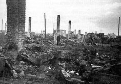 The completely destroyed Kovno Ghetto, 1944. In July 1944, the Germans blew up and burned down the Ghetto in search of Jews in hiding there.
