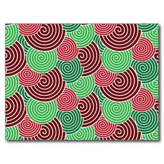 Christmas Holiday Red Green Spiral Pattern Postcard SOLD on Zazzle