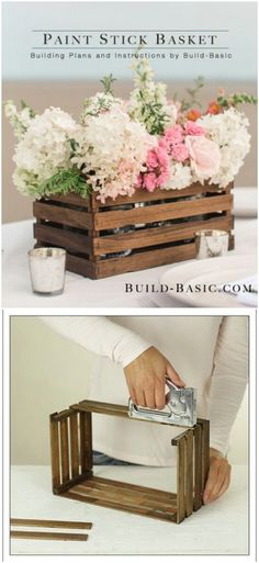 Paint Stick Basket and other farmhouse decorating ideas