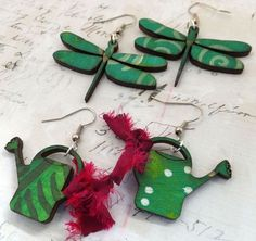 cute dragonfly and watering can earrings - supplies from ARTchix Studio