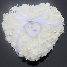 Wedding Favors Ring Pillow With Transparent Box Heart Design Foam Rose Pearl Case Decor Supplies Mariage Gift Custom Ring Boxes