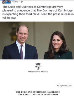 Royal Baby #3!! Woo hoo! Kensington Palace confirms it!